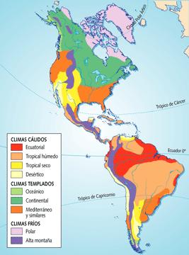 Mapas de los tipos de climas en América
