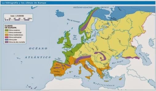 Dominios climáticos en Europa