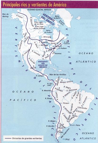 Mapa hidrográfico de América