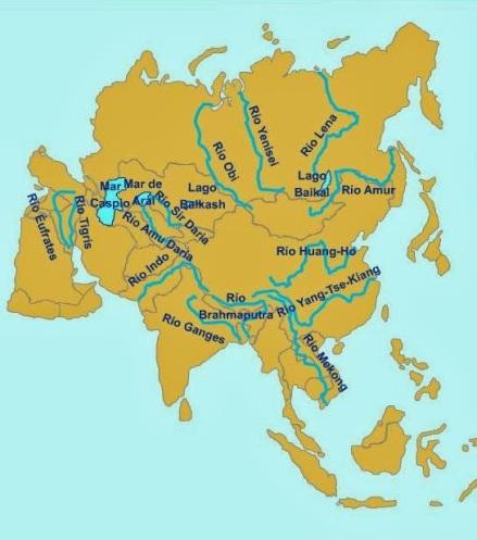 Mapa hidrológico de Asia