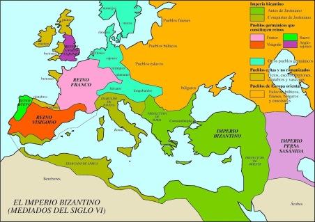Mapa del Imperio Bizantino a mediados del s. VI