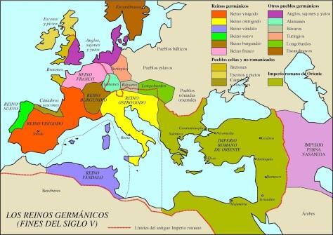 Mapa de los Reinos Germánicos a finales del s. V