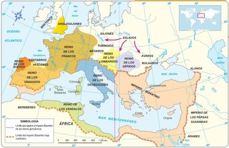 Mapa de los reinos germánicos / Fuente: ilustrecesante