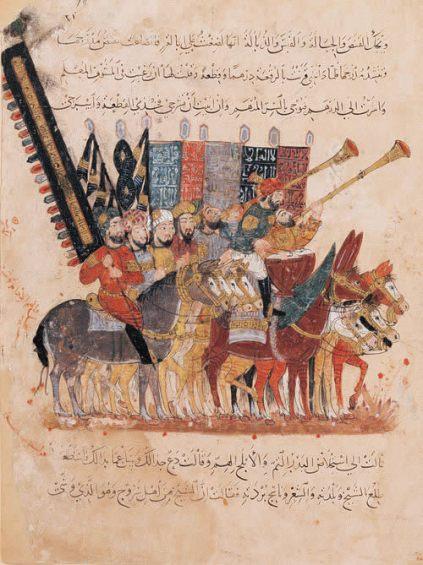 Imagen de árabes dirigiéndose a la guerra