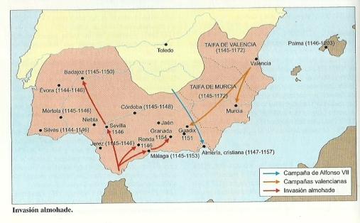 Mapa de la invasión almohade