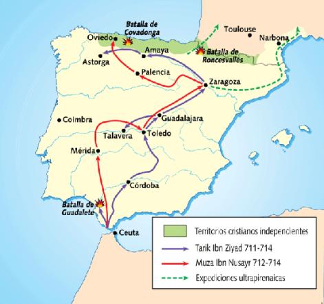 Mapa de la conquista de la Península Ibérica