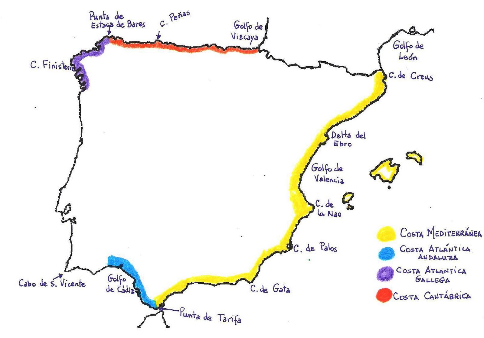 Mapa De Costas España.Tema 02 El Medio Natural De Espana Y Andalucia La Mar De
