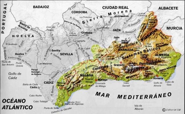 Sistemas Beticos Mapa Fisico.Tema 02 El Medio Natural De Espana Y Andalucia La Mar De