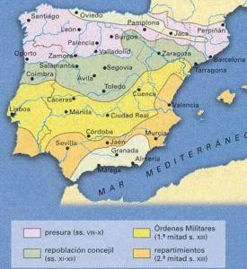 Mapa con los modelos de repoblación en la Península Ibérica