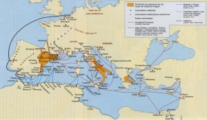 Mapa de la expansión de la corona de Aragón por el Mediterráneo