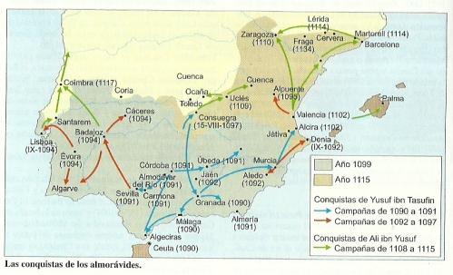 Mapa de la conquista de los Almorávides en la Península Ibérica