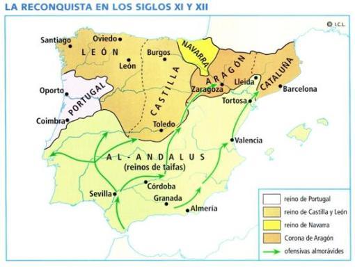 Mapa de la reconquista en los s. Xi y XII