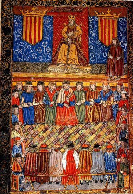 Fernando II entre dos escudos del Señal y Real de Aragón