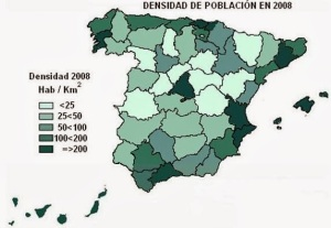 Mapa de la densidad de población española